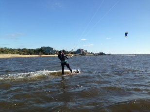 Kelly kiteboarding in Nags Head, NC.